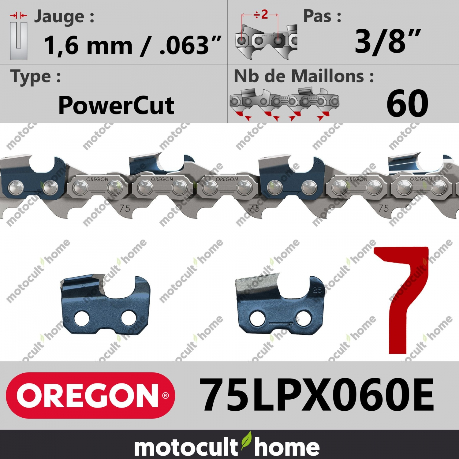 Cha ne de tron onneuse oregon 75lpx060e powercut 3 8 1 6 mm 60 maillons motocult 39 home - Chaine tronconneuse oregon ...