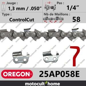 """Chaîne de tronçonneuse Oregon 25AP058E ControlCut 1/4"""" 1,3mm/.050andquot; 58 maillons-20"""