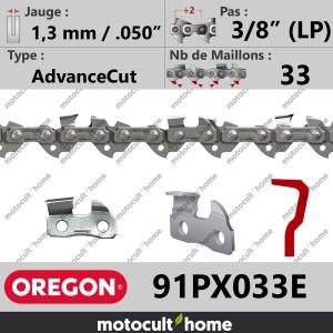 """Chaîne de tronçonneuse Oregon 91PX033E AdvanceCut 3/8"""" (LP) 1,3mm/.050andquot; 33 maillons-20"""