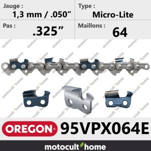 """Chaîne de tronçonneuse Oregon 95VPX064E Micro-Lite .325"""" 1,3mm/.050andquot; 64 maillons-20"""