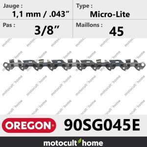 """Chaîne de tronçonneuse Oregon 90SG045E Micro-Lite 3/8"""" 1,1mm/.043andquot; 45 maillons-20"""