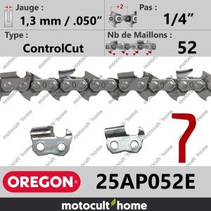 """Chaîne de tronçonneuse Oregon 25AP052E ControlCut 1/4"""" 1,3mm/.050andquot; 52 maillons-20"""