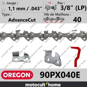 """Chaîne de tronçonneuse Oregon 90PX040E AdvanceCut 3/8"""" (LP) 1,1mm/.043andquot; 40 maillons-20"""