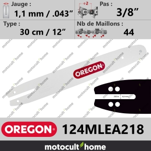"Guide de tronçonneuse Oregon 124MLEA218 Single Rivet 30 cm 3/8""-20"