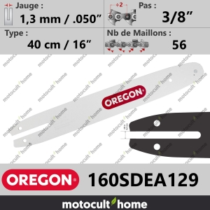 "Guide de tronçonneuse Oregon 160SDEA129 Single Rivet 40 cm 3/8""-20"