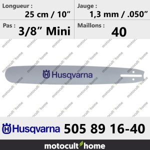 Guide de tronçonneuse Husqvarna 505891640 ( 5058916-40 / 505 89 16-40 ) 25 cm-20