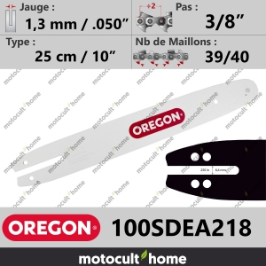 "Guide de tronçonneuse Oregon 100SDEA218 Single Rivet 25 cm 3/8""-20"