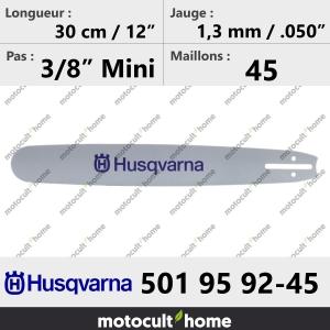 Guide de tronçonneuse Husqvarna 501959245 ( 5019592-45 / 501 95 92-45 ) 30 cm-20