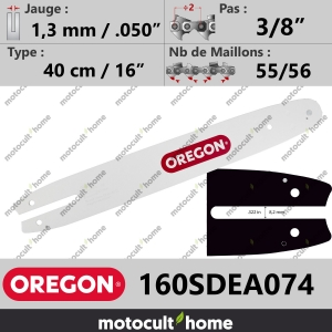 "Guide de tronçonneuse Oregon 160SDEA074 Single Rivet 40 cm 3/8""-20"