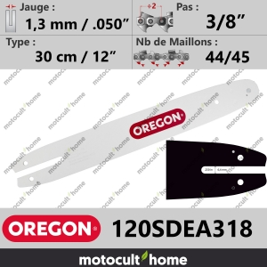 "Guide de tronçonneuse Oregon 120SDEA318 Single Rivet 30 cm 3/8""-20"