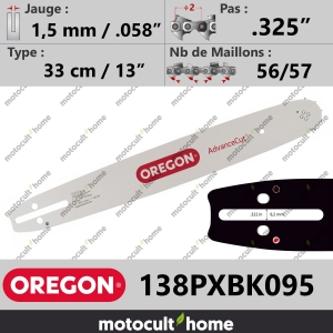 "Guide de tronçonneuse Oregon 138PXBK095 AdvanceCut 33 cm .325""-20"
