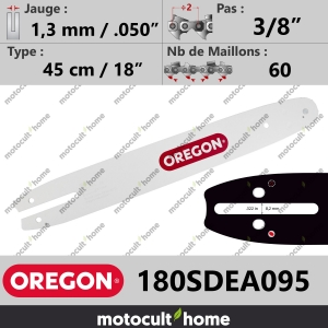 "Guide de tronçonneuse Oregon 180SDEA095 Single Rivet 45 cm 3/8""-20"