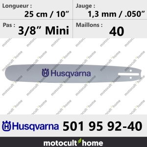 Guide de tronçonneuse Husqvarna 501959240 ( 5019592-40 / 501 95 92-40 ) 25 cm-20