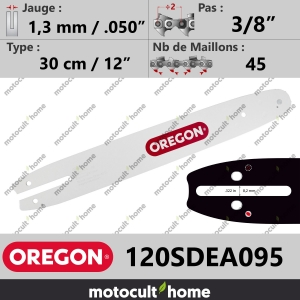 "Guide de tronçonneuse Oregon 120SDEA095 Single Rivet 30 cm 3/8""-20"