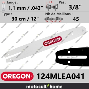 "Guide de tronçonneuse Oregon 124MLEA041 Single Rivet 30 cm 3/8""-20"