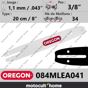 "Guide de tronçonneuse Oregon 084MLEA041 Single Rivet 20 cm 3/8""-20"