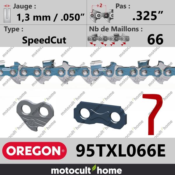 """Chaîne de tronçonneuse Oregon 95TXL066E SpeedCut .325"""" 1,3mm/.050andquot; 66 maillons-20"""
