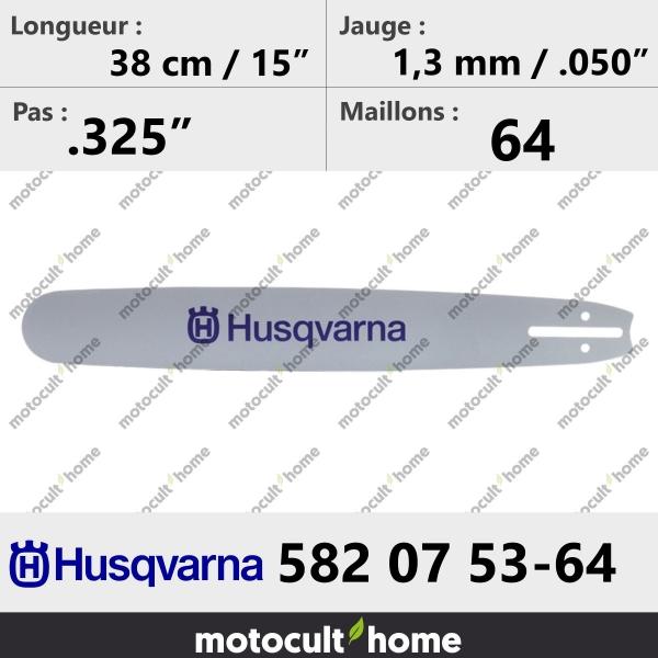Guide de tronçonneuse Husqvarna 582075364 ( 5820753-64 / 582 07 53-64 ) 37 cm-20
