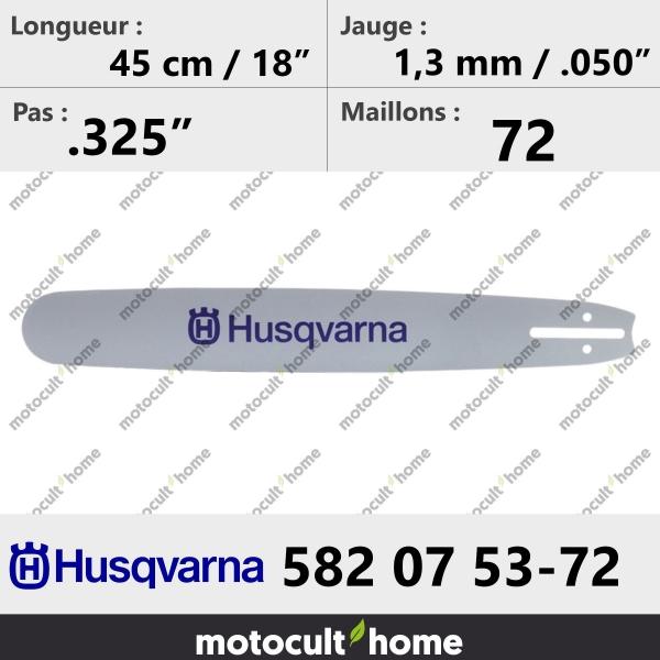 Guide de tronçonneuse Husqvarna 582075372 ( 5820753-72 / 582 07 53-72 ) 45 cm-20