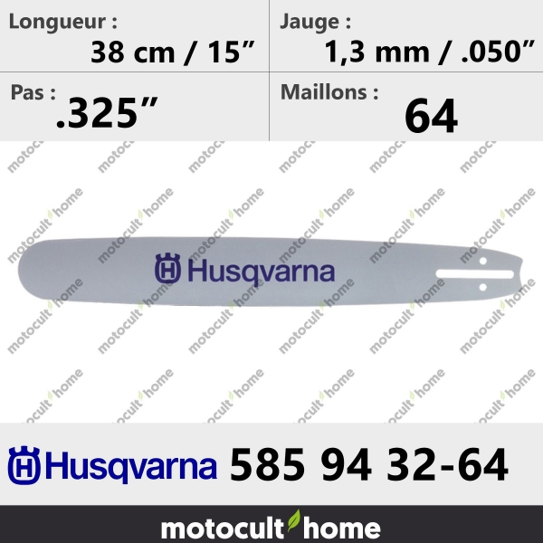 Guide de tronçonneuse Husqvarna 585943264 ( 5859432-64 / 585 94 32-64 ) 37 cm-20