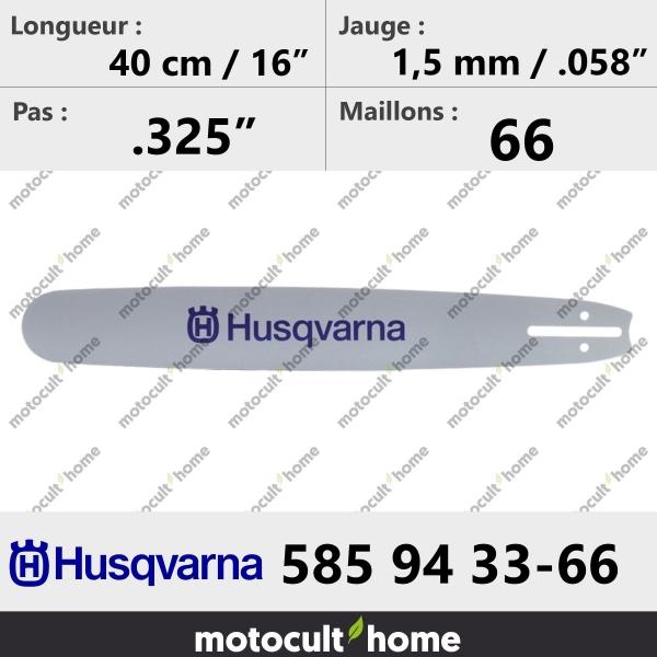 Guide de tronçonneuse Husqvarna 585943366 ( 5859433-66 / 585 94 33-66 ) 40 cm-20