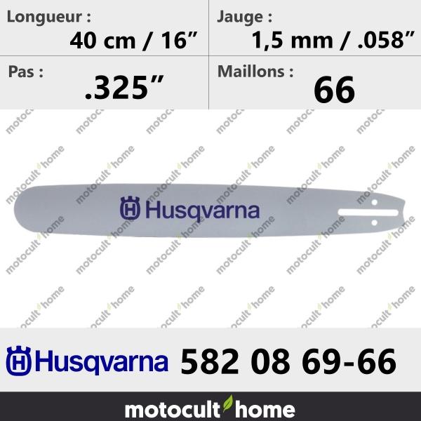 Guide de tronçonneuse Husqvarna 582086966 ( 5820869-66 / 582 08 69-66 ) 40 cm-20