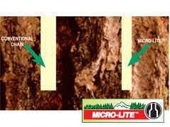 Exemple de coupe avec une chaîne Micro-Lite d'Oregon